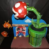 Mario Brothers Cake This cake is the first cake in which I used different techniques. Involved in this cake is pulled and blown sugar, artistic background and...