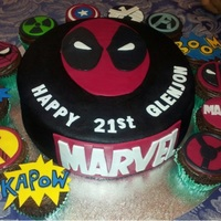 Marvel Birthday Theme chocolate mud cake with dark chocolate ganache, and marvel themed cupcakes. The main character is deadpool. Feeback is welcome as always.