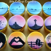 Sunset Cupcakes Airbrushed cupcakes and hand painted accents