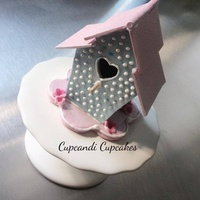 Miniature 3D Bird House Cupcake Topper   Hand cut and made from gumpaste