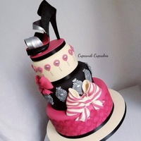 Pink Black Metalic Baroque Shoe Cake Pink black metalic baroque shoe cake