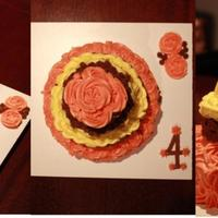 4 Tier Rosettes & Baskets  My first 4 Tier cake & first experience with Rosettes & Basket weave. It was made with love for a 4th Wedding Anniversary. The...