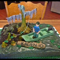 Swamp People Cake   Very Vanilla Cake, Traditional Buttercream, Fondant/Gum Paste figures