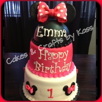 "6 Cake Covered In Fondant With Mouse Cutouts And Handmade Gum Paste Bows 4 Fondant Covered Cake Airbrushed Deep Pink With Gum Paste Lette 6"" cake covered in fondant with mouse cutouts and handmade gum paste bows. 4"" fondant covered cake airbrushed deep pink with gum..."