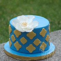 Blue And Gold With Fantasy Flower Thank you cake for preschool teacher