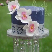 Navy Blue Ganache With Orchids A small birthday cake I made for myself!!