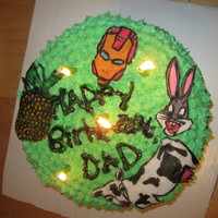 I Made This Cake For My Dads Birthday Featuring His Favorite Super Hero Iron Man His Favorite Cartoon Character Bugs Bunny A Pineapple F I made this cake for my dad's birthday, featuring his favorite super hero Iron Man, his favorite cartoon character Bugs Bunny, a...