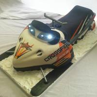 Arctic Cat Crossfire Snowmobile Cake   Snowmobile Groom's cat. All parts were edible except the steering bars and ski shocks.