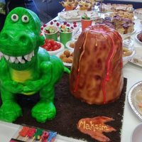 Rkt Dinosaur Covered In Fondant Volcano Chocolate Cake With Buttercream Filling *RKT dinosaur covered in fondant, volcano chocolate cake with buttercream filling