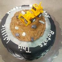 Tire Cake For A 70 Year Old Tire Vendor   Final product after trying several toppers