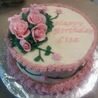 Gumpaste Rose Birthday Cake   *Buttercream icing with gumpaste roses