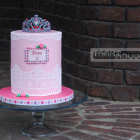 Princess Cake With Lace And A Tiara  I was asked to make a pink, girly cake for a regular customer and I have always wanted to make a tiara so this is what I made. Hope you&#...
