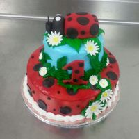 2 Tier Cake With Buttercream Icing And Fondant Accents With A Lady Bug Topper Made From Fondant And Rct 2 tier cake with buttercream icing and fondant accents with a lady bug topper made from fondant and RCT.