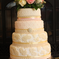4 Tier Round Vintage Lace Cake