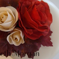 Gumpaste And Fondant Roses For Fall Cake Topper Roses are gumpaste and fondant mix, the oak leaves are silk