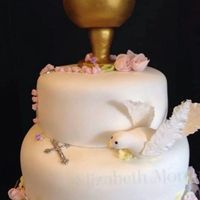 First Communion Cake First Holy Communion cake with roses, chalice with host, a dove, and a rosary made of roses