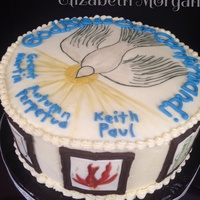 Confirmation Cake Confirmation cake. The Holy Spirit shining down on the names of the newly confirmed. Hand painted symbols of the Holy Spirit are in picture...