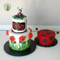 Lady Bug Babyshower * Fondant Cake with buttercream Smash cake for the big sis..