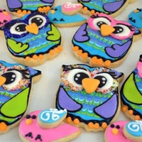 Owl And Lovebird Baby Shower Cookies  Sugar cookies with royal icing details. The owl eyes were build as a transfer. The owl design was from Montreal Confections (she has a good...