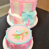 A Tweet First Birthday  Large cake is chocolate cake on first tier, strawberry cake on second tier. Smash cake is vanilla cake. All are frosted in buttercream with...
