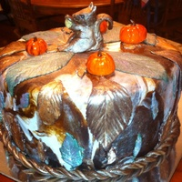 Fall Festival Cake Covered In Marbled Chocolate And Marshmallow Fondant With Gilded Leaves And The Iconic Fall Pumpkins With A Cute Little... Fall Festival Cake covered in marbled chocolate and marshmallow fondant with gilded leaves and the iconic fall pumpkins with a cute little...