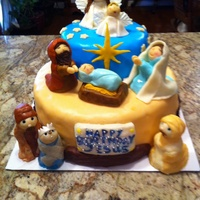 Nativity Cake For Christmas Dinner With Family Grandkids Represented By Angels Amp Wise Men Chocolate With Praline Filling Nativity cake for Christmas dinner with family. Grandkids represented by angels & wise men. Chocolate with praline filling.