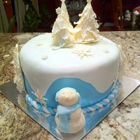 Winter Themed Cake For Choir Christmas Party Wasc With Almond Filling Covered In Almond Flavored Fondant Decorations Of White Chocolate Winter themed cake for choir Christmas Party. WASC with almond filling covered in almond flavored fondant. Decorations of white chocolate...