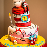 "For My Little Girls 1St Birthday I Decided On The Theme Of Cat In The Hat Since She Loves The Show As Little As She Is For The Cake I Wan For my little girls 1st birthday I decided on the theme of ""Cat in the Hat"" since she loves the show as little as she..."