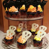Halloween Cupcakes In Triple Chocolate Candy Corn Colored Vanilla Bc And Black Cats An Skulls From Candy Melts   Halloween cupcakes in triple chocolate, candy corn colored vanilla BC and black cats an skulls from candy melts
