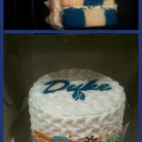 Cake I Did For My Dads 60Th Birthday Duke Blue Checkerboard Cake Frosted In Cloud Technique Accented With Duke Logo And Basketball From Wil... Cake I did for my dads 60th birthday, Duke blue checkerboard cake frosted in cloud technique accented with Duke logo and basketball from...