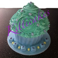 Giant Cupcake Blues/greens 1St Birthday By Kitticakes