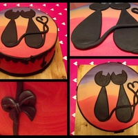 Romantic Silhouette Cats Looking At The Sunset Vanilla Sponge Double Filled With Strawberrycream And Chocolatechips Romantic silhouette cats looking at the sunset.Vanilla sponge double filled with strawberrycream and chocolatechips.