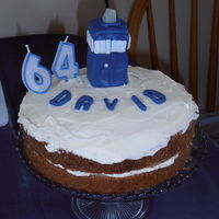 A Lemon Sponge With Lemon Butter Cream For My Friends 46Th Birthdayunfortunately I Got The Candles Mixed Up On Top Is Dr Whos Tardi  A lemon sponge with lemon butter cream for my friend's 46th birthday....unfortunately I got the candles mixed up ;)On top is Dr Who&#...
