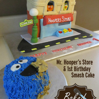 1St Birthday Party Cookie Monster Was A Smash Cake It Was Blue Velvet Cake And Very Messy The Other Cake Is Mr Hoopers Store 1st Birthday Party - Cookie Monster was a smash cake. It was Blue Velvet Cake and very messy! :-) The other cake is Mr. Hooper's Store...