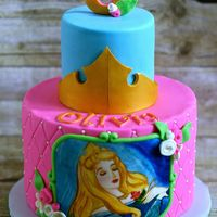 Sleeping Beauty Cake Hand Painted Sleeping beauty cake, hand-painted