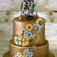 Steampunk Wedding Cake Designed Around Topper That Bride Provided Steampunk wedding cake designed around topper that bride provided.