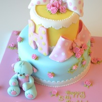 Polka Dot And Teddy Bear Cake