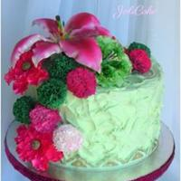 Pink Green Cake, Gumpaste Decorations