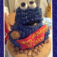 Birhtday Cakes Butter Cream Cakes Vanilla Cookie Monster Cake with homemade cookies and cakepops. Birthday cake for my friends son birthday.