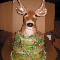 Deer Head Birthday Cake two tier cake , lower one was cappuccino cake withcoffee mascarpone cheese filling , upper tier was chocolate and vanilla cake with...
