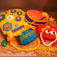 Beach Theme Cake vanilla cake filled with vanilla mousse and fresh fruits