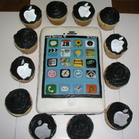 "I Phone Cake And Apple Cupcakes For 18Th Birthday This Is The First Cake I Have Ever Made With Fondant   ""I Phone"" cake and ""Apple"" cupcakes for 18th birthday.This is the first cake I have ever made with fondant."