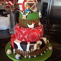 Barnyard Cake With Hand Crafted Fondant Animals Barnyard cake with hand-crafted fondant animals
