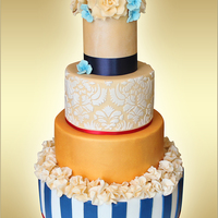 Blue And Gold Wedding Cake Blue and gold wedding cake