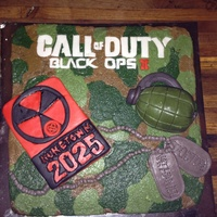 Call Of Duty Black Ops Cake Buttercream Camo Detail Grenade And Dog Tags Nuketown Logo Call of duty black ops cake. Buttercream camo detail. Grenade and dog tags nuketown logo