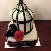 Birdcage Raven Gothic Cake 2 6Inch Round Cakes And 12 Ball Cake On Top Cream Cheese Icing With Fondant Details Gumpaste Rose And Woode Birdcage raven gothic cake. 2 6inch round cakes and 1/2 ball cake on top. Cream cheese icing with fondant details. Gum,paste rose and...