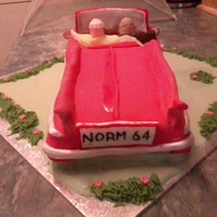 My Fathers Birthday Cake A Carrot Cake With Vanilla Buttercream He Loves Classic Cars So I Did My Folks Sat In A Classic Car Lol As You C my fathers birthday cake. a carrot cake with vanilla buttercream. he loves classic cars so i did my folks sat in a classic car. lol as you...