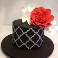 Black White And Red Rose black with white quarterfoil stencil and red sugar rose
