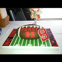 Football Cake I made this football cake for my son-in-laws birthday. It is a chocolate pound cake with chocolate buttercream covered in fondant. Used...