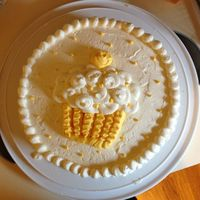 First Cake   Yellow cake with vanilla buttercream. Made at Wilton 1, second class.